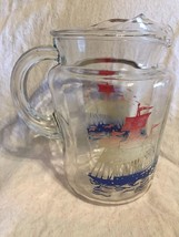 Vintage 50s Glass Water Pitcher w Red White Blu... - $14.01