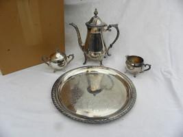Vint Leonard Silverplate 4-Pc. Coffee or Tea Set w/Box Pot Creamer Sugar... - $19.99