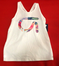 Gap Kids Girls White Active Fit Floral Logo Graphic Racer Cross Back Tank 14 16 - $14.84