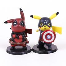 Pikachu Cosplay Super Heroes Marvel Deadpool Captain America PVC Figure Model - $31.50