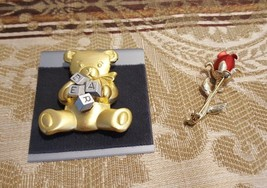 Vintage Lapel Pin Brooche - Teddy Bear - Red Rose - Lot of TWO lapel Pins - $28.42