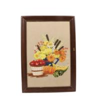 Vintage 70s Mid Century Modern MCM Handwoven Floral Fruit Basket Hanging... - $69.25