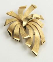 ESTATE VINTAGE Jewelry TRIFARI SIGNED RETRO MOD RIBBON BOW FORM BROOCH - $15.00