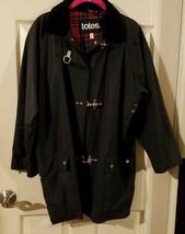 Womens Totes Black Raincoat Jacket Size Medium Snap-up with Toggles - $24.75