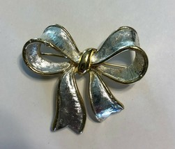Napier Vintage Silvertone Goldtone Bow Brooch Pin - $11.87
