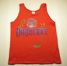 BUDWEISER FROGS & MOON Graphic Tank Top Red Sleeveless Shirt Adult Men's... - $34.60
