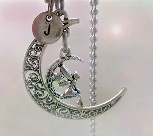 Primary image for Filigree Moon Fairy Necklace with Letter Charm of Your Choice * Hand-crafted wit