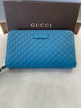 Gucci Microguccissima Print Teal Leather Zip Around Wallet ! NIB ! - $341.55