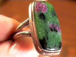 GREEN AGATE STERLING SILVER 925 RING 7.25 RARE NATURAL ELEGANT COMPLEX O... - £31.86 GBP