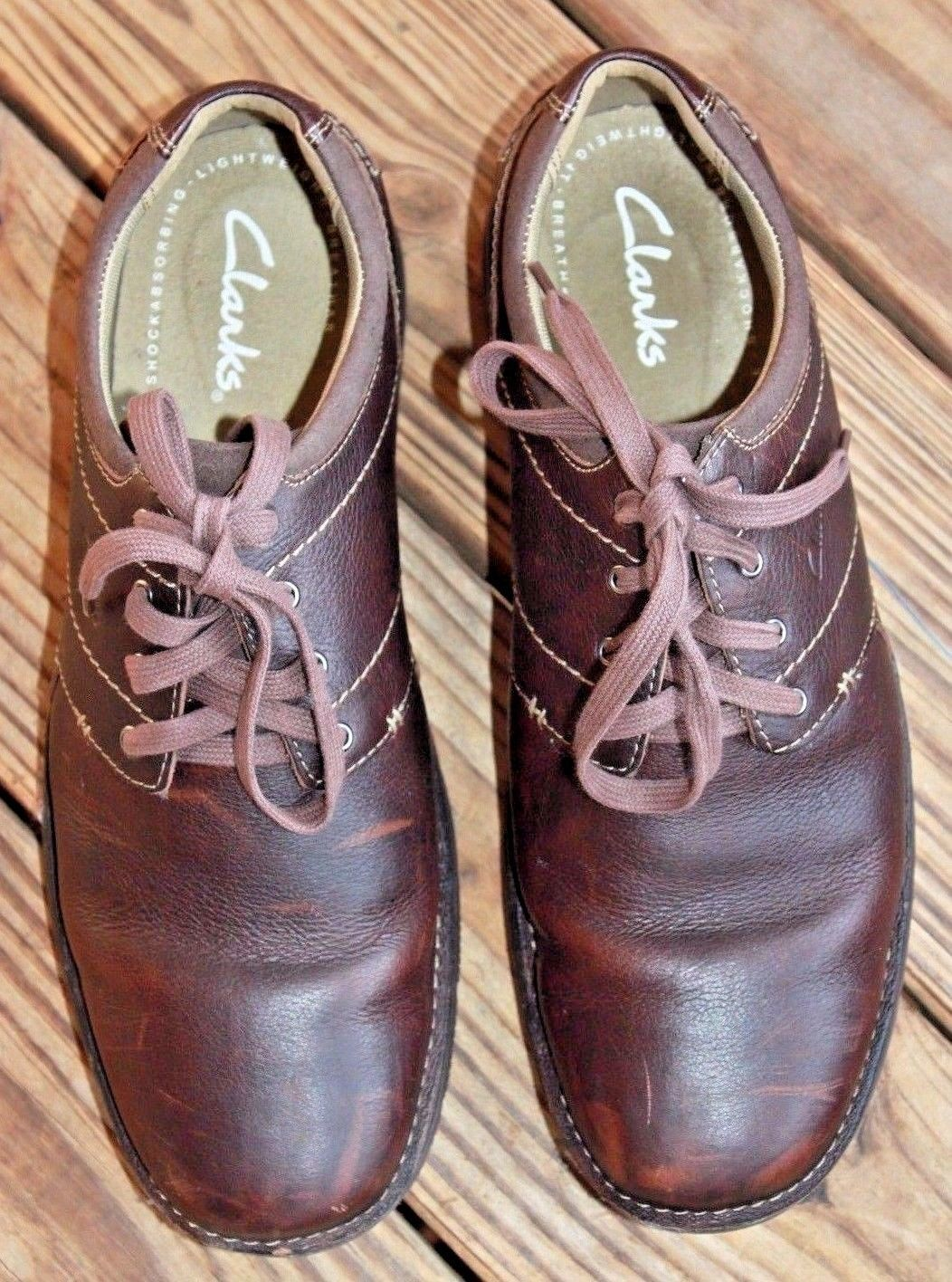 Clarks Size 11.5M Senner Place Dark Brown 66255 Oxford Shoes Career Men's