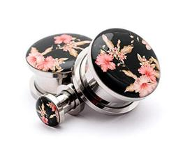Pair of Screw on Picture Plugs Gauges Choose Style and Size (Vintage Flo... - $25.74