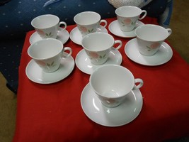 """6 Vintage FRANCISCAN Whitestone """"Pink-A-Dilly"""" CUPS & SAUCERS & FREE Saucer - $32.98"""