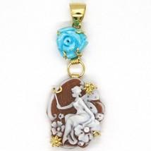 Pendentif en or Jaune 18K 750, Camée Camée, Fée, Fleurs, Rose de Turquoise image 2