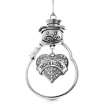 Inspired Silver Great Dane Pave Heart Snowman Holiday Christmas Tree Orn... - $14.69