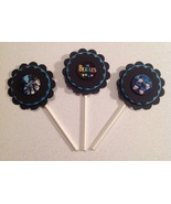Beatles Cupcake Toppers Birthday Party Anniversary Black Blue Handmade New - $12.00