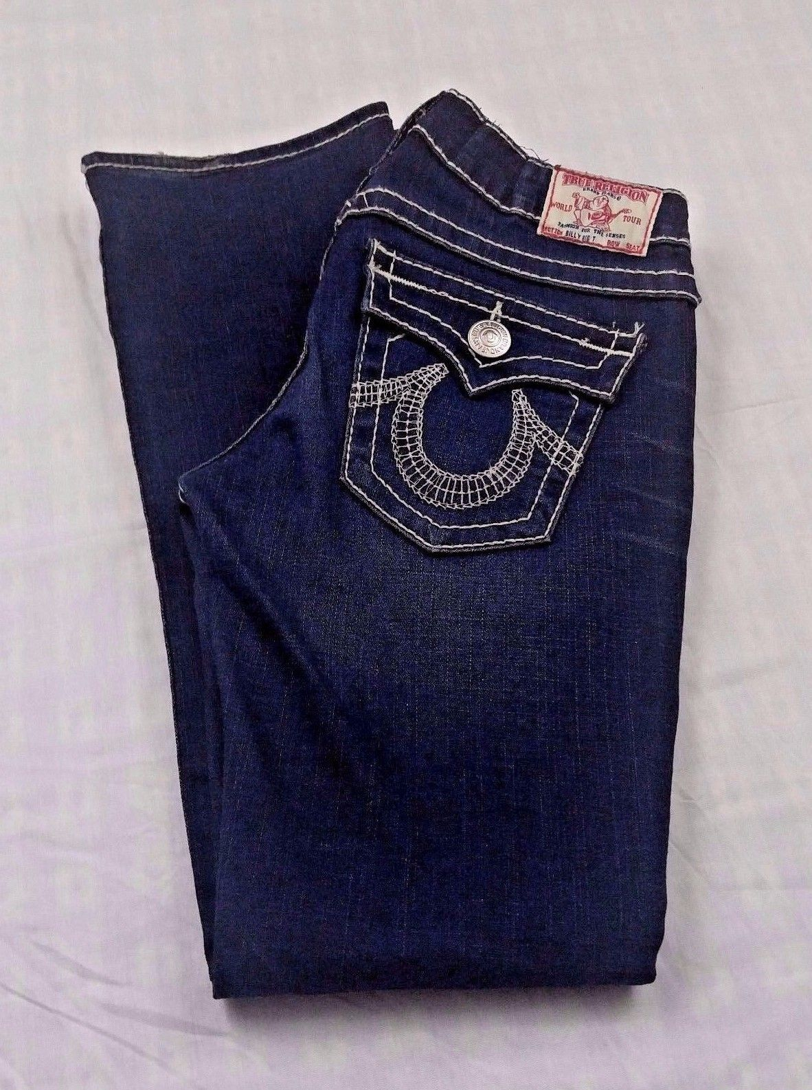 Primary image for True Religion Women's Jeans Billy Big T Dark Distress Blue Denim Jeans 28