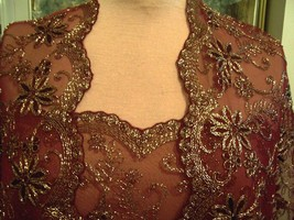 4.5yds WINE LACE NET FABRIC DAZZLING ALL OVER METALLIC GOLD EMBROIDERED ... - $150.00