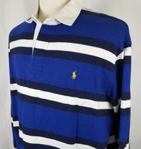 Polo Ralph Lauren Striped Rugby Shirt Mens Size XL Blue White Pony 100% ... - $33.99