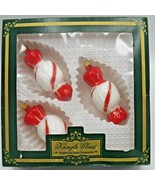 3 Kringle Glass Peppermint Candy Christmas Ornaments Kurt S Adler Red White +Box - $16.73