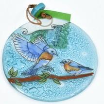 Blue Birds Bluebird Fused Art Glass Ornament Sun Catcher Handmade Ecuador