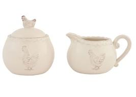 LUXE nordique Poule Poulet sucrier pot de lait porcelaine vernis crème B... - $27.29