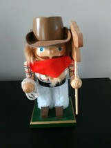 """Cowboy Nutcracker Western Wooden Holding Horse and Rope 7 1/2"""" Tall - $18.76"""