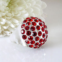 New Clear Acrylic Domed Ring Numerous Red Swarovski Elements Crystal On Dome image 5