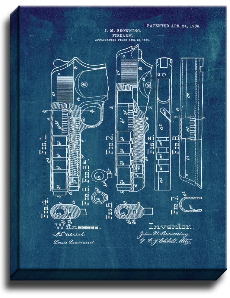 Primary image for Browning Firearm Patent Print Midnight Blue on Canvas