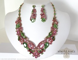 Pink Wedding Jewelry Set, Bridal Necklace, Crystal Bridal Statement Neck... - $60.00