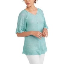 Faded Glory Women's Elbow Sleeve Double V Sweater Size Small 4-6 Aqua Bl... - $16.82