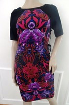 Nwt Adrianna Papell Liberty Colorblock Floral Sheath Dress Sz 14 Black Pink $160 - $72.22