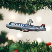 OLD WORLD CHRISTMAS PASSENGER PLANE GLASS AIRPLANE CHRISTMAS ORNAMENT 46065 - $13.88