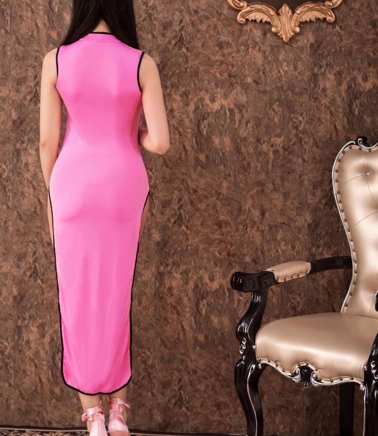 Women Sexy Long Cheongsam Dress High Split Vintage Qipao Pajamas Slim Stylish image 9