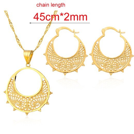 Ethlyn Eritrean  jewelry sets Gold Color earrings pendants  jewelry sets  for  E - $14.51