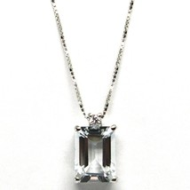 18K WHITE GOLD NECKLACE AQUAMARINE 1.30 EMERALD CUT & DIAMOND, PENDANT &... - $279.00