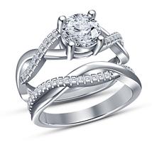 Womens Wedding Diamond Ring Set 14k White Gold Finish 925 Sterling Real Silver - $94.99
