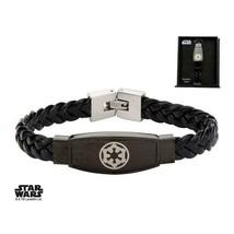 Disney Star Wars Stainless Steel Galactic Empire Symbol Braided Leather Bracelet - $39.20