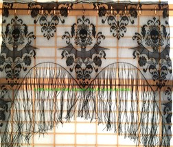 Gothic Black Lace SKULL BAT CURTAIN VALANCE TOPPER SHAWL Halloween Haunt... - $12.84