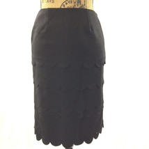 Anthropologie Skirt MAEVE 0 XS Classic Black Scallop Wool Bl Side Slit P... - $34.95
