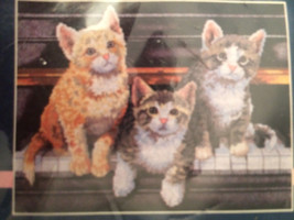 Sunset Meowsical Trio No Count Cross Stitch Kit Keith Kimberlin 14x11 Sealed - $17.33