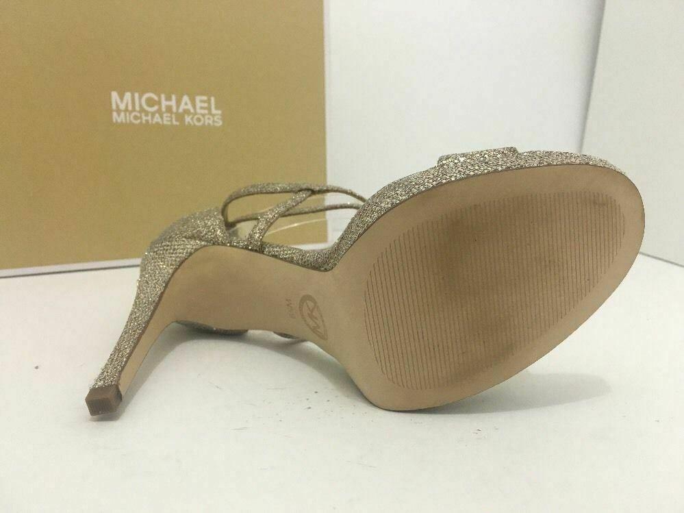 Michael Kors Simone Women Evening Platform High Heels Sandals 6.5 Silver Glitter image 9