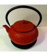 Japanese Cast Iron Teapot With Stand & Filter Flower Blossom Red Teavana   - $64.35