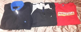 Nautica Competition Fleece Pullover Sweater XXL Black VTG 90s plus 2 shirts - $20.00
