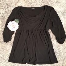 Women's AGB Evening Wear Blouse Black Cowl Neck Stretchy Flowy Sz L Larg... - $12.50
