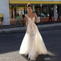Mermaid Wedding Dress With Detachable Tail Sexy Backless V Neck Lace Appliques