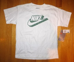New Nike White Athletic Cotton Short Sleeves T Shirt Top Boy Girl Size 7 Nwt - $6.93