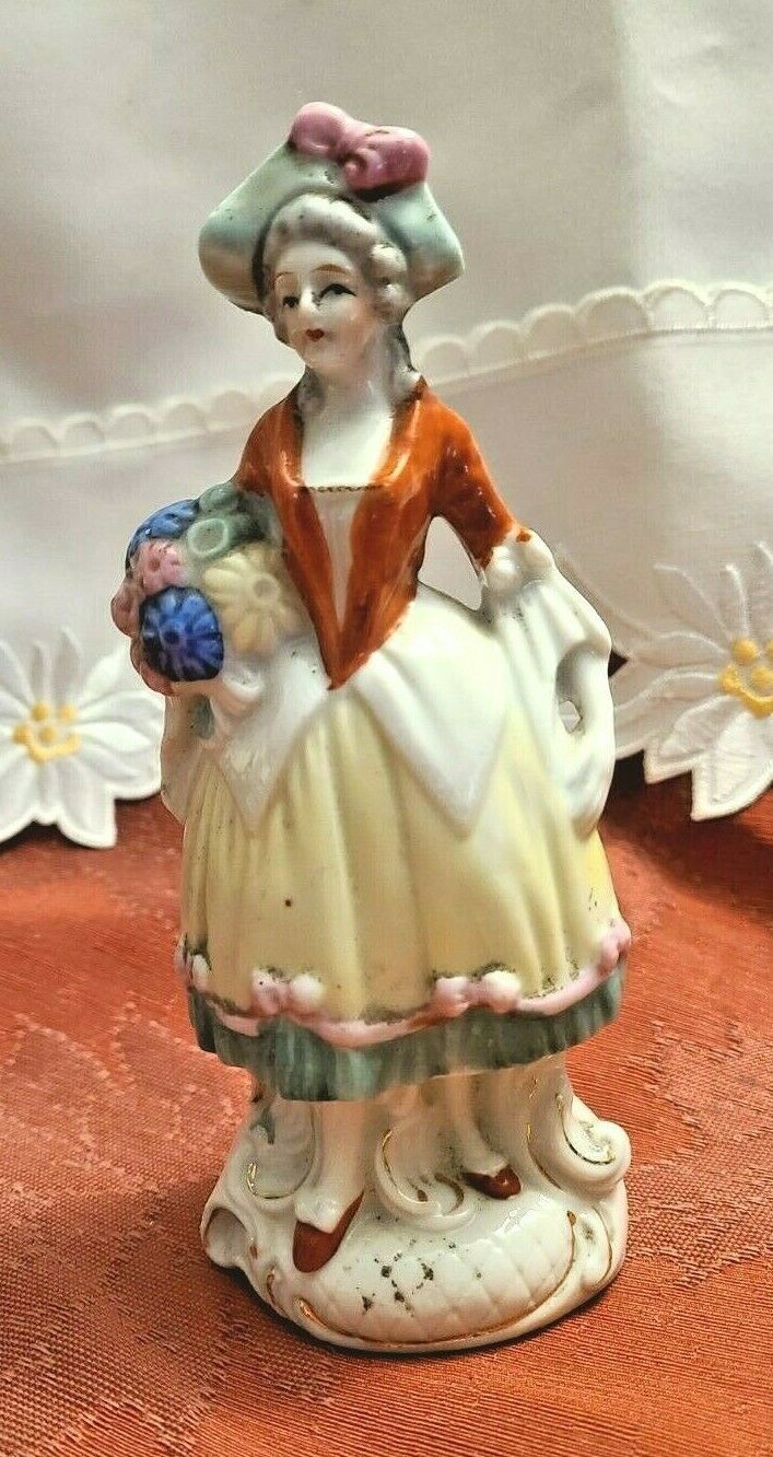 "Vintage Victorian Woman with Basket of Flowers Porcelain Figurine 6"" Tall  Made"