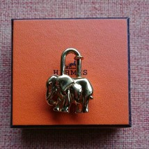 HERMES Authentic Animal Motif Elephant Cadena Padlock Lock Bag Charm Used - $199.99