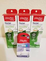 3x Playtex Baby Unisex Drop-Ins Nurser Bottles + 2 Extra Nipples, Age 3 Mos+NEW - $32.99