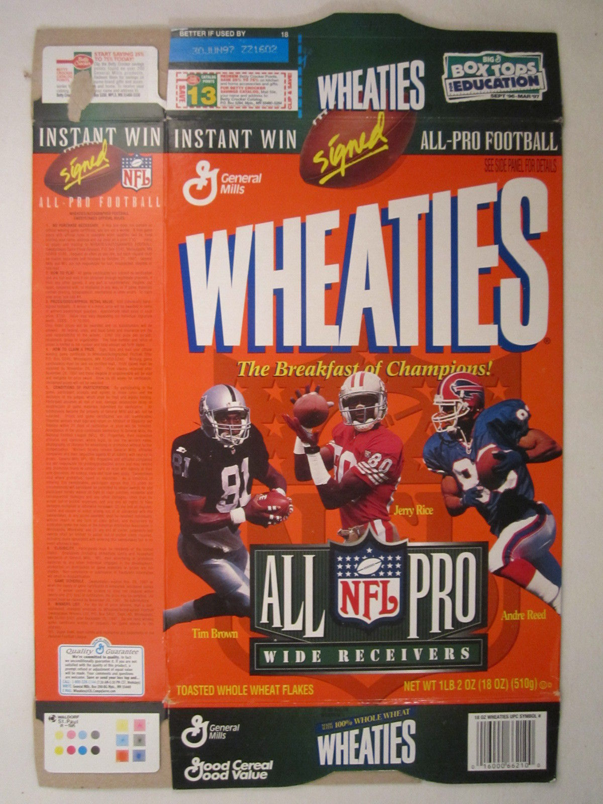 Primary image for Empty WHEATIES Box 1996 12oz ALL PRO RECEIVERS Brown Rice Reed [Z202c4]
